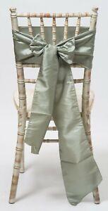 Dusky Sage Taffeta Wedding Chair Sashes  1,10,25,50 or 100 sashes ,