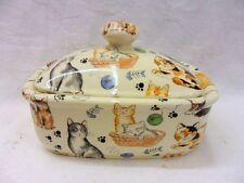 cute cats butterdish by Heron Cross Pottery