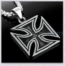 """Hot Stainless Steel Mens Black Silver Retro Iron Cross Flat Pendant Necklace 24"""""""
