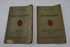 Antique Vintage SINGER 27-4 Sewing Machine Manual & Attachment Instructions
