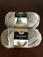 2 Skeins Loops and Threads Impeccable Worsted Yarn Color - Clay 268yds Each New