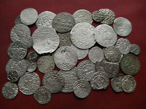 LOT OF 40 PCS MEDIEVAL SILVER COINS FROM 15-17TH CENTURY, CENTRAL EUROPE #Q-15