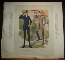 1917 Mens Fashion Plate Traymore Suit Two Button Double Breasted Sack Hat Shoes