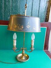 LAMPE BOUILLOTE 2 AMPOULES EN BRONZE ET ABAT-JOUR EN METAL PEINT