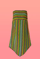 Womens strapless summer dress with Aztec Zig Zag Print