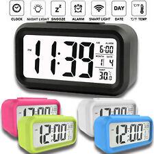 Digital LED Display Backlight Desk Table Alarm Clock Snooze Thermometer Calendar