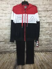 Fila Training Gym Velour Track Suit Jacket Pants Red White Blue Vintage NWT Sz M