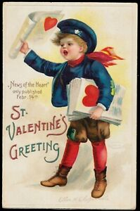 Classic Ellen Clapsaddle - Boy Sells Valentine Newspapers  Newsie!