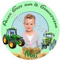 Tortenaufleger Traktor Fototorte Zuckerbild mit Foto und Text individuell (698)