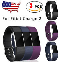 3 PACK Fitbit Charge 2 Replacment Bands Strap Silicone Fitness Wristband Large