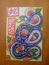 POSTCARD..CHINESE NEW YEAR..YEAR OF THE  SNAKE..BLUE SNAKE & FLOWERS