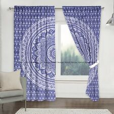 Blue Silver Ombre Cotton Mandala Indian Window Drapes Curtains Balcony Valances@