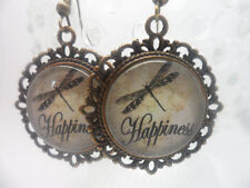 20mm Dragonfly Happiness Quote Bronze Dangle Earrings, Vintage Boho Altered Art