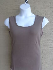 New Roaman's 24/7 L 18-20W  Fine Ribbed Cotton Scoop Neck Tank Top Plus  Taupe
