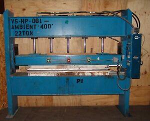 "Hydraulic heated platen press 22ton , 94"" x 24"" ram 10hp"