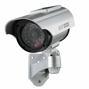 Solar Power Dummy Fake Security Camera Flashing Red LED WATERPROOF SET OF 2