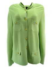 Dialogue Womens Sweater XL Euro-Crepe Button Front Ribbed Cardigan LS Green New