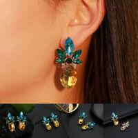 1 Pair Women Boho Crystal Pineapple Earrings Fruit Dangle Earrings Jewelry Gift
