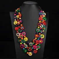 Bohemian Multilayer Bead Necklace Pendant Ethnic Wooden Handmade Fashion Jewelry