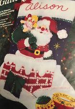 NIP Bucilla Santa In Chimney Felt Applique Stocking #33676