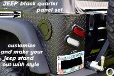 """JEEP YJ WRANGLER """"black"""" 3 PC DIAMOND PLATE REAR CORNER GUARDS"""