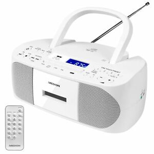 MEDION LIFE E65710 Boombox UKW Stereo Radio CD Kassette MP3 USB AMS 2x 30W weiß