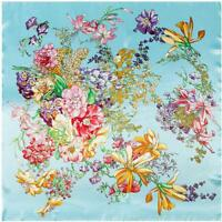 "SCARF 35"" x 35"" Square Light Aqua Background Lilies Floral BEAUTIFUL FLOWERS"