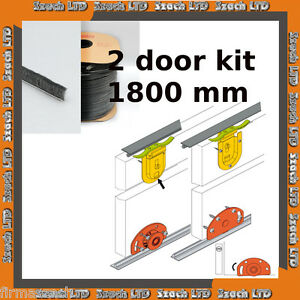 2 Sliding Door Gear System 50 kg / 1800mm (2 door) 3 COLOURS FREE BRUSH