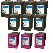10 Pack 901XL 901 (7 Bk+ 3 Color) Rem. Ink For OfficeJet G510a G510g G510n 4500