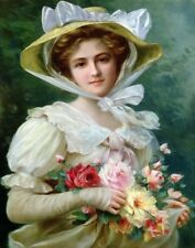 Vernon Emile Elegant Lady With A Bouquet Of Roses Print 11 x 14   #5262