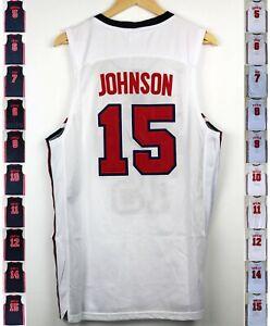1992 USA Jordan Pippen Larry Bird Drexler Barkle Stockton 2 Stitched Jersey