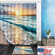 Ocean Beach Sunset Shower Curtain Set w/ Hook Bath Mat Waterproof Bathroom Decor