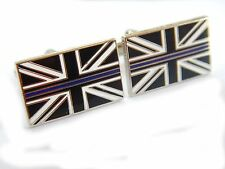 Thin Blue Line Cufflinks Police Force Remembrance Subdued Union Jack