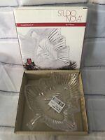 "NIB Studio Nova Christmas Tree Magic Clear Glass Holiday Candy Dish Tree Bowl 8"""