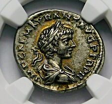 NGC Ch XF Caracalla Stunning Denarius Brother of Geta. Ancient Roman Silver Coin