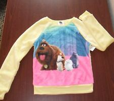 Girls Super Soft Fleece Sweatshirt THE SECRET LIFE OF PETS Lemon Yellow XL 14-16
