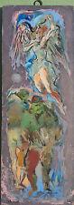 1940s JON CORBINO,N.A. (1905-64) ANGEL UNAWARE oil PAINTING 11 ½ x 4 1/4 inches