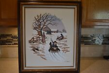 C. CARSON BEAUTIFUL! WINTER SCENE OIL PAINTING SIGNED & FRAMED 25X29 (C1)