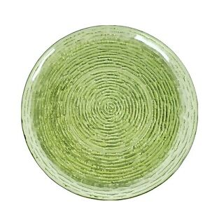 "Vintage Anchor Hocking Soreno Avocado Green Glass Dinner Plate 10"" Mid Century"