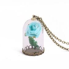 Women Magic luminous Flower Rose Glow In The Dark Pendant  Wish Bottle Necklace