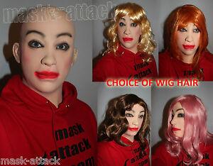 LATEX FEMALE GIRL CROSS DRESS RUBBER FULL HEAD WOMAN LADY TV HOOD MASK + HAIR