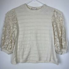 Eri + Ali Anthropologie Sz XS Chelsea Lace Sleeve Knit Top Floral Embroidery