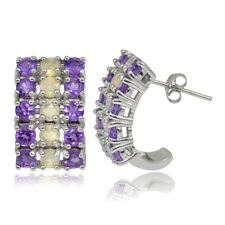 Sterling Silver Ethiopian Opal and African Amethyst 3 Row Half Hoop Earrings