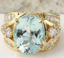 7.71Ct Natural Aquamarine and VS Diamond 14K Solid Yellow Gold Ring