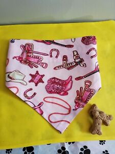DOG BANDANNA OVER THE COLLAR PET CLOTHES PINK COWGIRL BOOTS