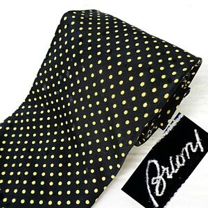 BRIONI Hand Made in Italy 100% Silk Tie Necktie Black + Gold Polka Dot Print