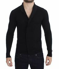 NWT $400 COSTUME NATIONAL HOMME Black Fine Wool Button Cardigan Sweater s. S
