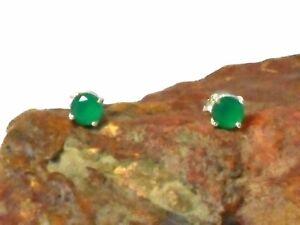 Round Green EMERALD  Sterling  Silver  925  Gemstone Stud Earrings - 5 mm