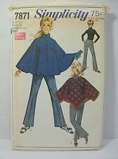 Simplicity Pattern 7871 Misses Size 12 Poncho Bell Bottom Pants Cut Complete Vtg