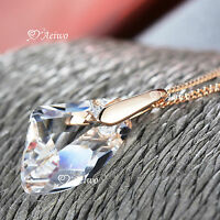 18K ROSE GOLD GF CLEAR CRYSTAL DROP SPECIAL PENDANT FASHION NECKLACE